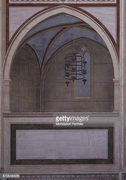 """Architectural Illusion, Choir , by Giotto, 1303-1305, 14th Century, fresco Italy, Veneto, Padua, Scrovegni Chapel. After restoration picture. Whole..."
