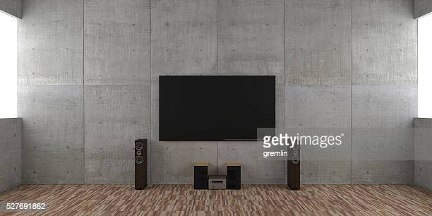 Architectural interior concept with TV set and hi-fi