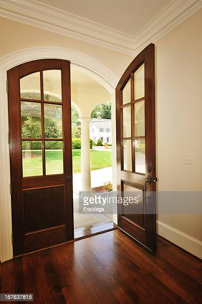 Architectural interior of upscale arched double front door