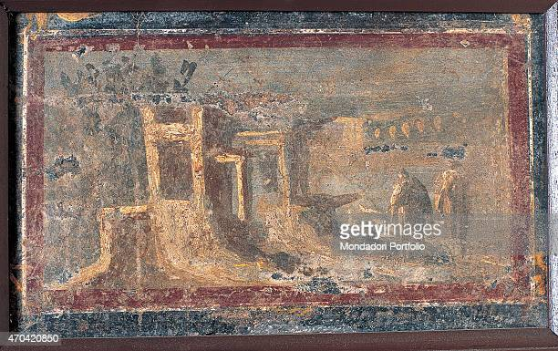 'Architectural Landscape by unknown artist 5079 1st Century AD ripped fresco Italy Campania Naples National Archaeological Museum Room LXXIV inv 9436...