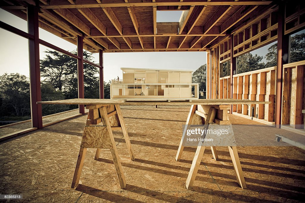 Architectural model on home construction site : Stock Photo