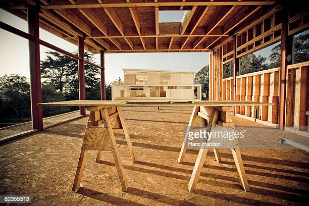 Architectural model on home construction site