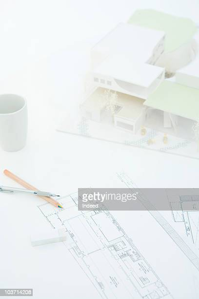 architectural model with blueprint - 建築模型 ストックフォトと画像