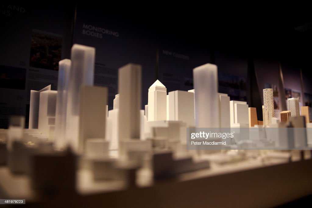 Architectural models showing the proposed development of London's skyline are displayed at the 'Growing Up!' exhibition on April 2, 2014 in London, England. Over 230 new towers are planned in the capital.