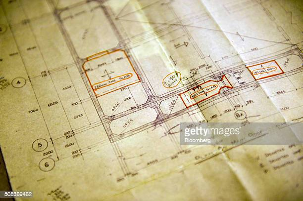 Architectural plans sit inside a former regional government nuclear bunker in Ballymena UK on Thursday Feb 4 2016 The property that was opened in...