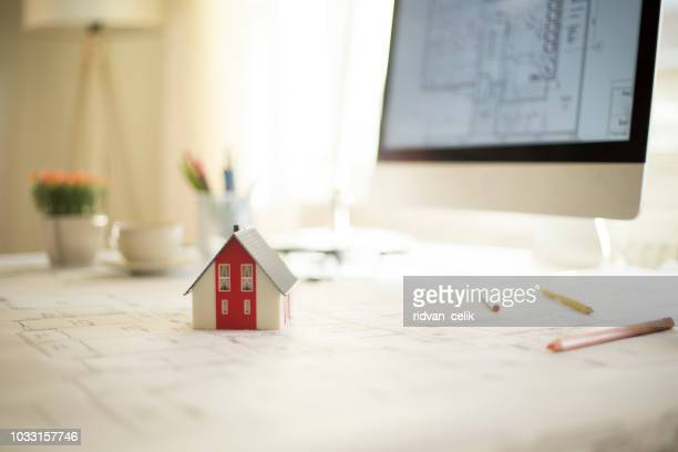 architectural project, engineering tools on table. - drawing compass stock pictures, royalty-free photos & images