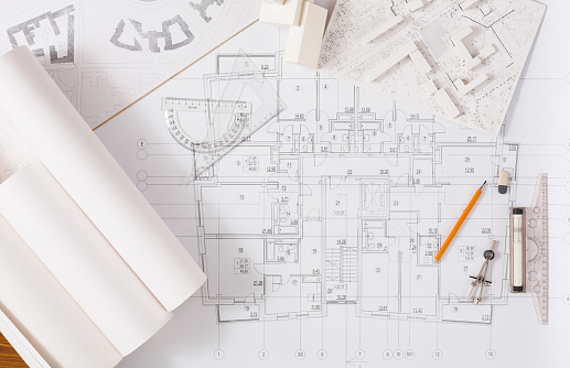 Architectural project, engineering tools on table. 912482942