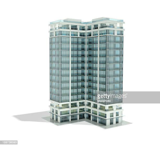 architectural rendering of office building - skyscraper stock pictures, royalty-free photos & images
