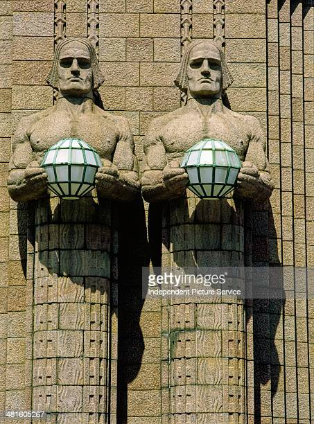 Architectural sculpture by Emil Wikstrom on the facade of the Central Railway Station in Helsinki Finland