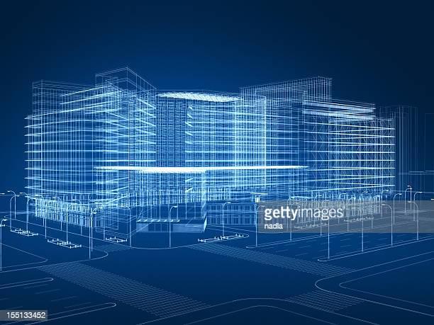 3d architecture abstract - draadmodel stockfoto's en -beelden