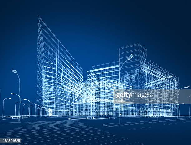 3d architecture abstract - digitally generated image stock pictures, royalty-free photos & images