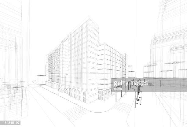 3d architecture abstract - sketch stock pictures, royalty-free photos & images