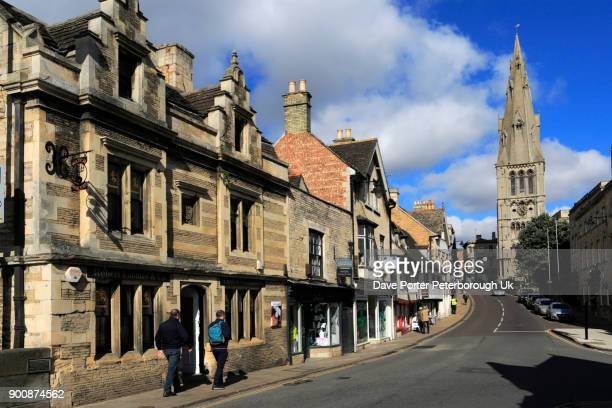 architecture along st marys hill, georgian market town of stamford - lincolnshire stock pictures, royalty-free photos & images