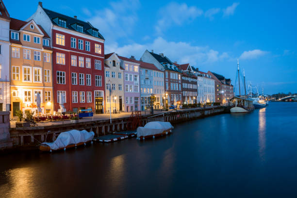 Architecture and city lights in Amsterdam,