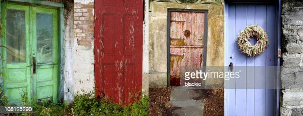 Architecture and Doorway Collage of Old Rustic Cottage Doors