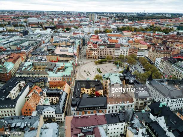 architecture and urban street in the downtown - malmo city square - malmo stock pictures, royalty-free photos & images