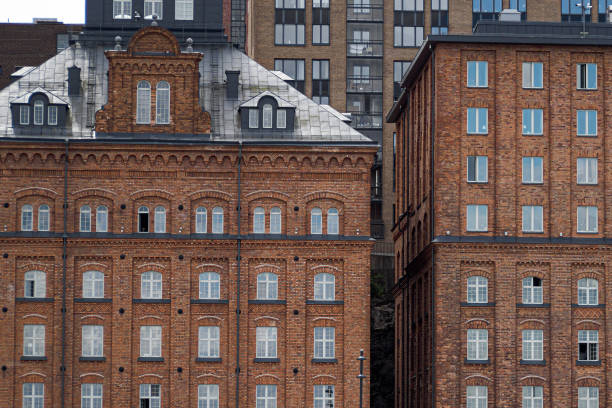 Architecture At Kvarnholmen In Nacka, Where Old Factory Buildings Are Transformed Into Apartments.