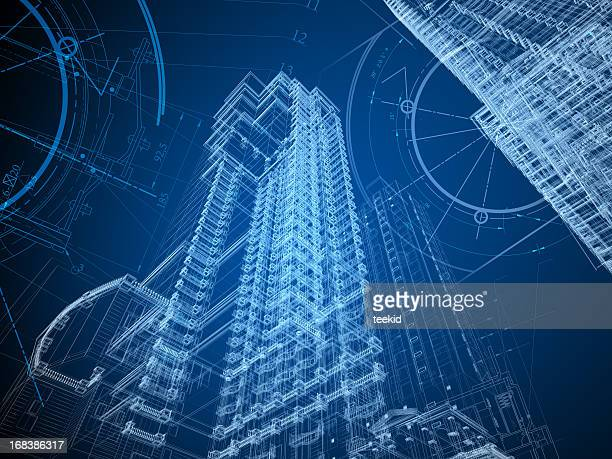 architecture blueprint - skyscraper stock pictures, royalty-free photos & images