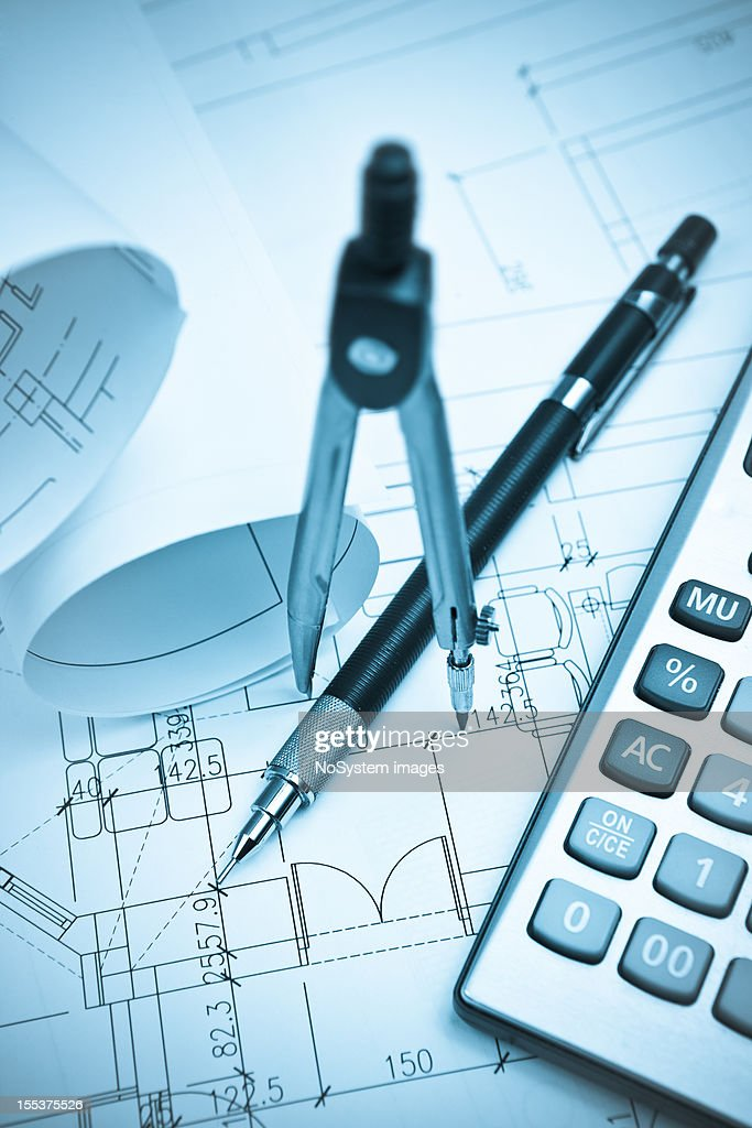 Architecture Blueprints Amp Drawing Tools Stock Photo