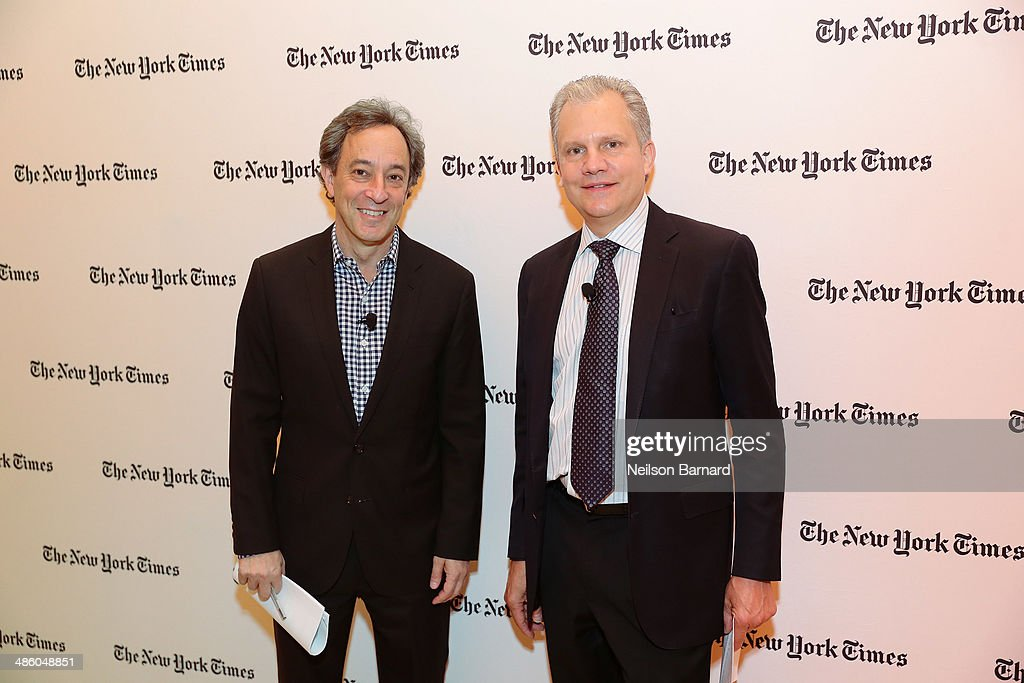 Architecture critic for the New York Times Michael Kimmelman (L) and Publisher of The New York Times Company Arthur Sulzberger, Jr. attend the New York Times Cities for Tomorrow Conference on April 22, 2014 in New York City.