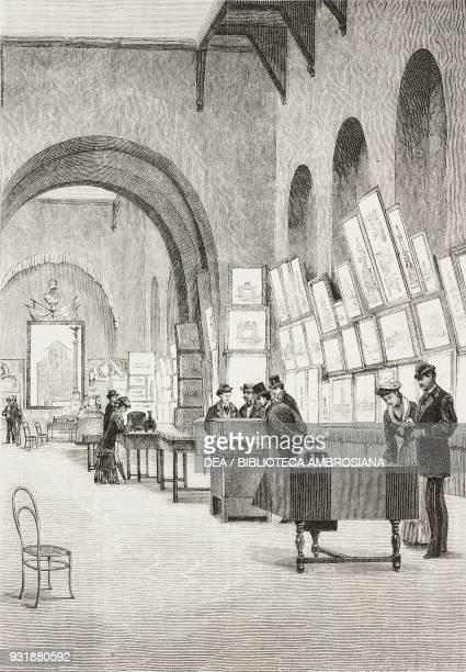 Architecture hall at the Italian engineers and architects Congressexhibition September Naples drawing by Edoardo Matania engraving by Canedi from...