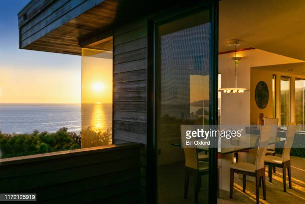 architecture: house at sunset by ocean in california - promenade stock pictures, royalty-free photos & images