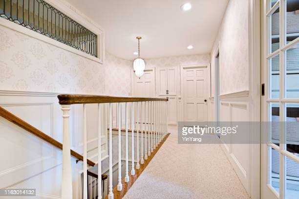 architecture interior stairwell of a residential home - east hampton stock pictures, royalty-free photos & images
