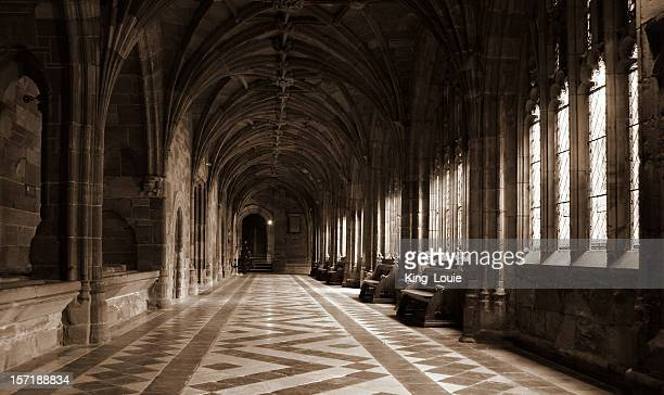 architecture: medieval cloisters - cloister stock pictures, royalty-free photos & images