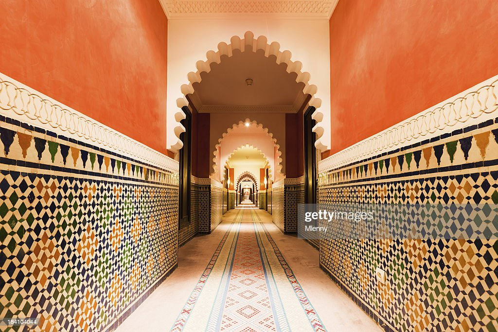 Architecture Moroccan Archway with Ornamental Tiles Interior Design : Stock Photo