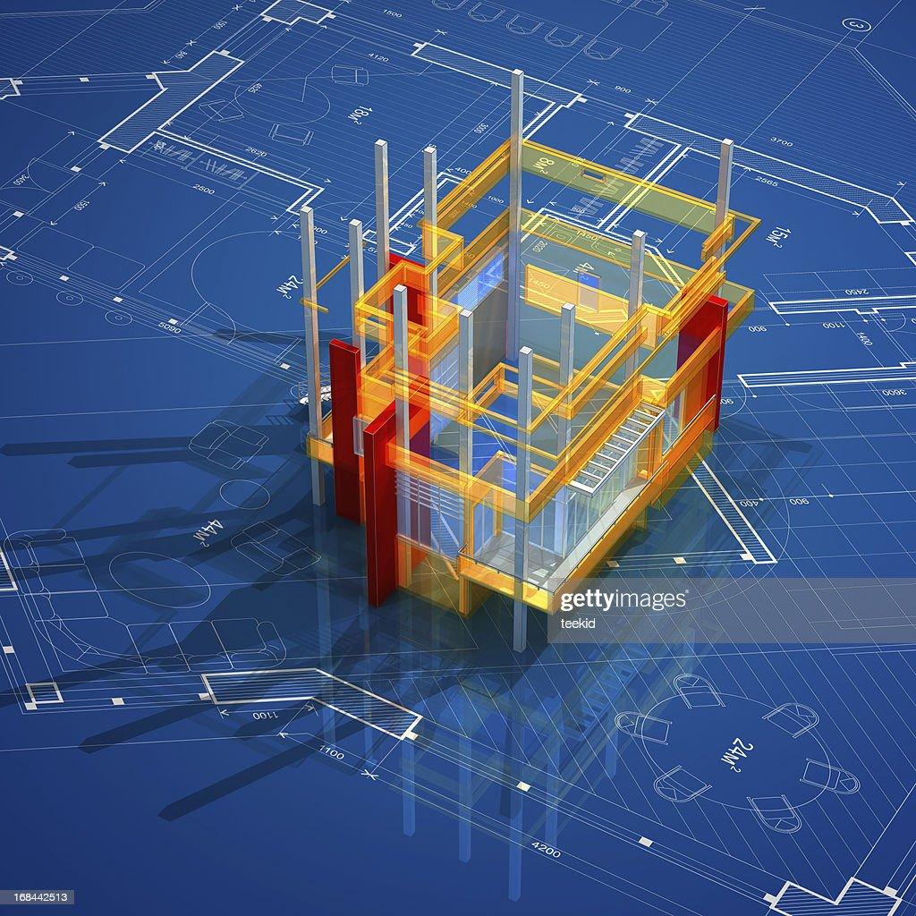 Architecture On Blueprint : Stock Photo