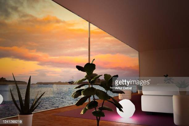 architecture picture from modern house with big window and stunning views of seascape sunset. - sunset stock pictures, royalty-free photos & images