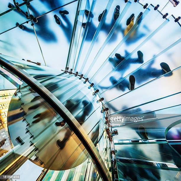 architecture,footprints on modern glass staircase - mlenny photography stock pictures, royalty-free photos & images