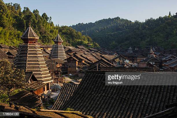 Architectures of Chinese Dong village at Huanggang village of Liping in Guizhou province.