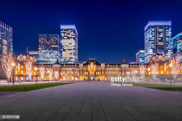 architectures of tokyo station by night - tokyo station stock photos and pictures