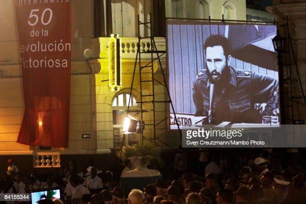 Archival television footage of Cuba's now ailing Revolution leader Fidel Castro is shown during celebrations at the city hall where he announced the...
