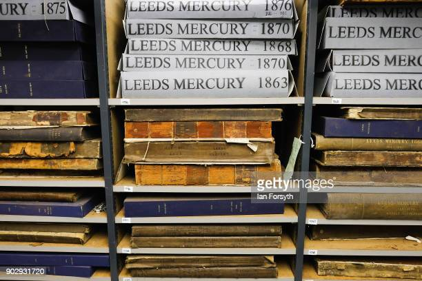 Archive copies of the Leeds Mercury are stored inside the Leeds Library on January 9 2018 in Leeds England This year sees the 250th anniversary of...