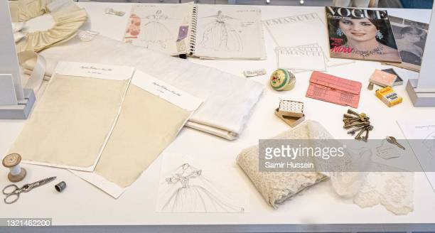 """Archive materials from The Emanuel Atelier workshop on display during the """"Royal Style In The Making"""" exhibition photocall at Kensington Palace on..."""