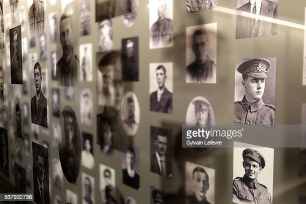 Archive pictures and personal items of the WWI soldiers in the new WW1 Thiepval Visitor and Interpretation museum division opened on the Centenary Of...