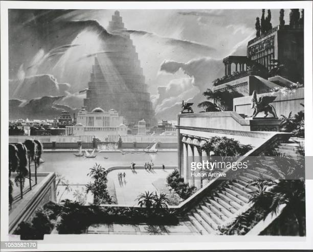 Archived Seven Wonders 3 The wonderful city of Babylon with the Tower of Babel in the distance and one of the Ancient Seven Wonders the Hanging...