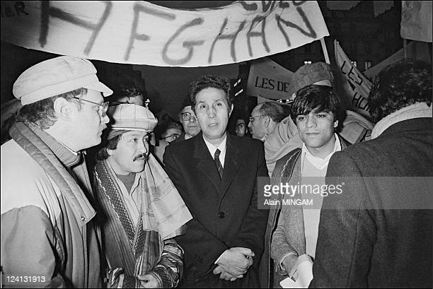 Archives Ahmed Ben Bella in Paris France on January 20 1982 Former Algerian president Ahmed Ben Bella at a demonstration to support the Afghan...