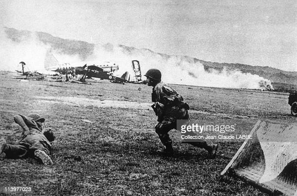 Archives: Dien Bien Phu Battle In Dien Bien Phu, Vietnam In May, 1954-French plane hit by artillery near Muong Thanh.