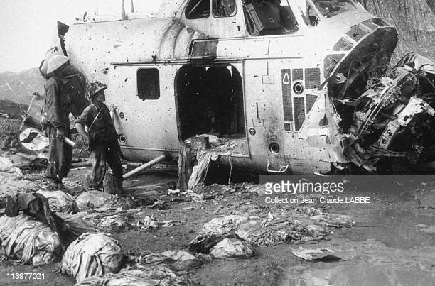 Archives: Dien Bien Phu Battle In Dien Bien Phu, Vietnam In May, 1954-French helicopter shot down near Muong Thanh.