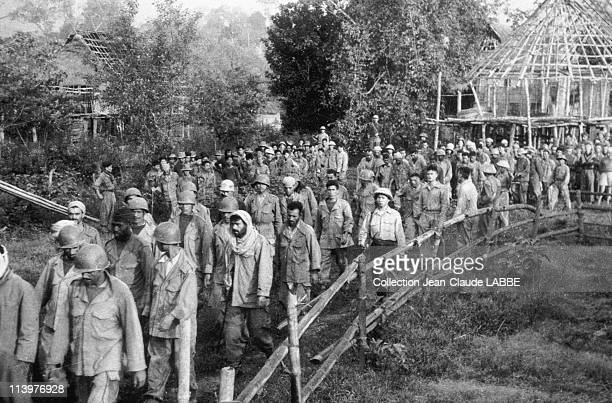 Archives: Dien Bien Phu Battle In Dien Bien Phu, Vietnam In May, 1954-Vietminh troops taking prisoners away after the victory.