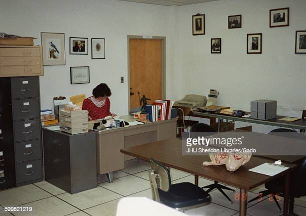 Archives, Ferdinand Hamburger Jr, Julia Boublitz Morgan, Reading room in Archives, D Level, MSE Library, Julia Morgan seated at desk, 1988.