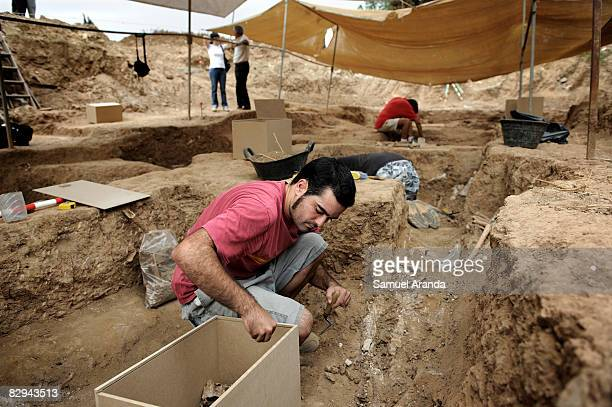 Archologists work exhuming human remains at the San Rafael mass grave where an estimated of 4500 bodies where found September 9 2008 in Malaga Spain...