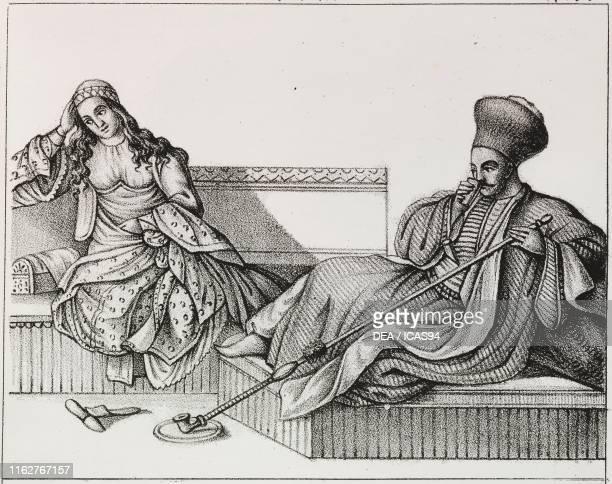 Archon and his wife Greece lithograph from Galleria universale di tutti i popoli del mondo ossia storia dei costumi religioni riti governi d'ogni...