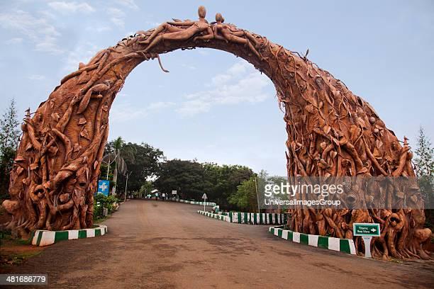 Archway carved with human sculptures at a park entrance Kailasagiri Park Visakhapatnam Andhra Pradesh India