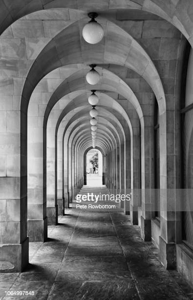 archway light and shadows - arch stock pictures, royalty-free photos & images
