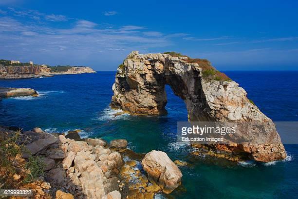 Archway of Es Pontas Mallorca Es Pontas Natural stone arch Cala Santanyi Mallorca Island Majorca Balearic Islands Spain Europe