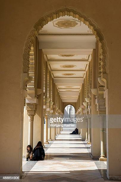 Archway with people at the Hassan II Mosque or Grande Mosquee Hassan II in Casablanca which is the largest mosque in Morocco and Africa